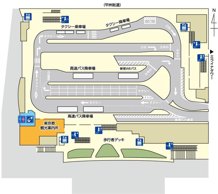 バスタ新宿:3Fのフロアマップ