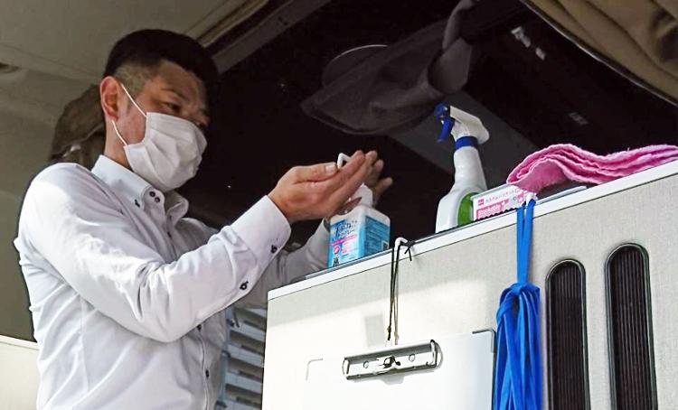 ブルーライナーの運行に関わるすべての従業員は、手洗い・うがい・手指消毒を励行しています。