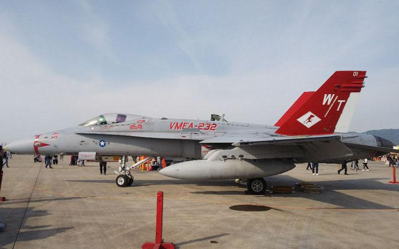 赤い尾翼が映えるF/A-18